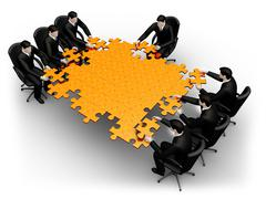 Team building a puzzle - stock illustration