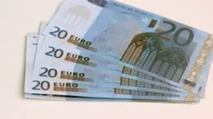 Stock Video Footage of Twenty euros banknotes spread in super slow motion
