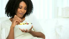 Pretty Ethnic Girl Eating Fresh Fruit Salad Stock Footage