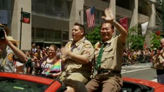 George Takei, Jennifer Tyrrell, NYC Pride Parade, Boy Scouts Stock Footage