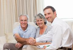 Seniors with assurance man looking at the camera - stock photo