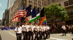 NYPD Color Guard marches in the 2012 Pride Parade Stock Footage