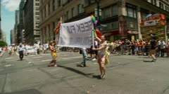 Seek Full Equality banner, New York Pride Parade Stock Footage