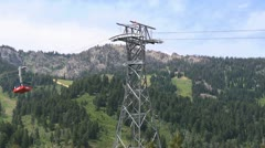 Ski Resort Sky Tram Cable Car Stock Footage
