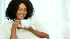 African American Female Drinking Coffee Stock Footage