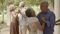 Old happy people dancing, couples of friends during dance Stock Footage