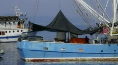 Typical Mediterranean fishing boat - stock footage
