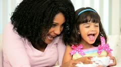 Mom Infant Daughter Playing Games Console Stock Footage