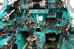 Soviet pilot cockpit Mig-23 Flogger Stock Photos