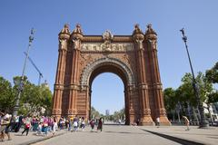 Arc de Triomf tourists - stock photo