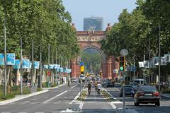 Barcelona Arc Triomf traffic - stock photo