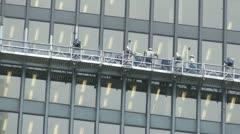 Toronto Bloor Street Skyscraper Repairs Workers Use A Gantry Platform Stock Footage