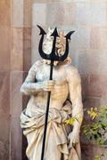 Barelona Poseidon trident statue - stock photo
