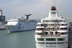 Stock Photo of Cruise ships depart Barcelona Spain