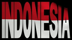 Indonesia text with fluttering flag animation Stock Footage