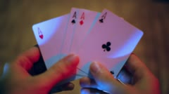 Ace hand poker Stock Footage