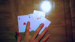 aces laying down poker - stock footage