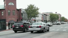 City traffic in Georgetown, Washington DC Stock Footage