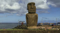 Moai in Easter Island Stock Footage