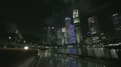 River Bridge and the skyscrapers of Singapore at night 2 Stock Footage
