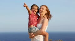 Family happy greeting goodbye in blue sea background Stock Footage