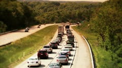 Traffic on an Interstate Highway in Summer Stock Footage