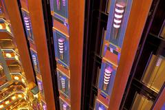 Cruise ship elevator atrium looking down Stock Photos