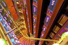 Cruise ship luxury atrium elevator looking down Stock Photos