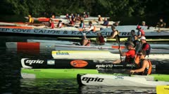north vancouver bc canada - july 17 2012 kayak and paddle board races - stock footage