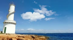 La Savina lighthouse in Formentera Sabina near Ibiza Stock Footage