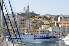 Marseille France tour boat cathedral 8658.jpg Stock Photos