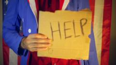 Recession depression help US uncle sam america help desperate Stock Footage