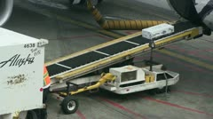 Airline cargo conveyor Stock Footage