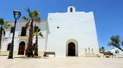 Formentera San Francisco Javier white church mediterranean Stock Footage