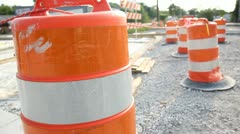 Empty Construction zone track shot Stock Footage