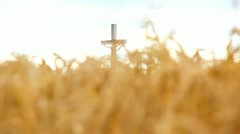 Sliding from wheat field on church cross statue - stock footage