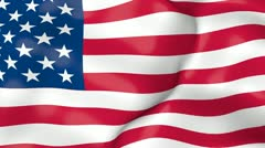 United States flag waving in the wind animation loop Stock Footage
