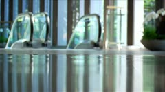 Busy Office Building Lobby - Low Angle, Soft Focus Stock Footage