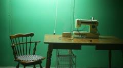 Sweatshop sewing table sew Stock Footage
