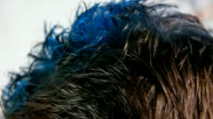 Blue hair color Stock Footage