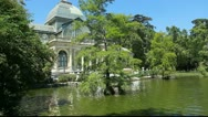 Stock Video Footage of Cristal palace in the Retiro Park, Madrid, Spain