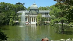 Cristal palace in the Retiro Park, Madrid, Spain - stock footage