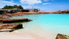 Beautiful rocky escalo beach in balearic islands Stock Footage