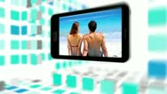 Videos of peaceful vacation on a smartphone screen Stock Footage