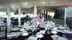Wedding table setting under tent wide Stock Footage