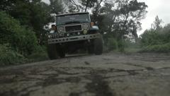 Jeep ride on a mountain road in Indonesia - stock footage