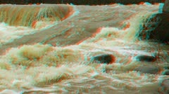 Stereoscopic 3D waterfall in a river 15 Stock Footage