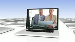Business video on digitally created laptop Stock Footage