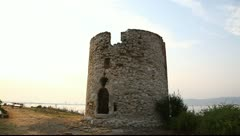 Ruins of old stone mill Nessebar, Bulgaria Stock Footage