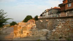 Ruins of a Byzantine basilica of the VI century, Nessebar, Bulgaria Stock Footage
